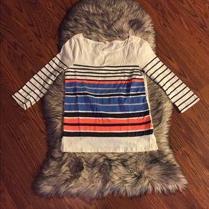 J. Crew Boatneck Striped Boxy Knit Tee